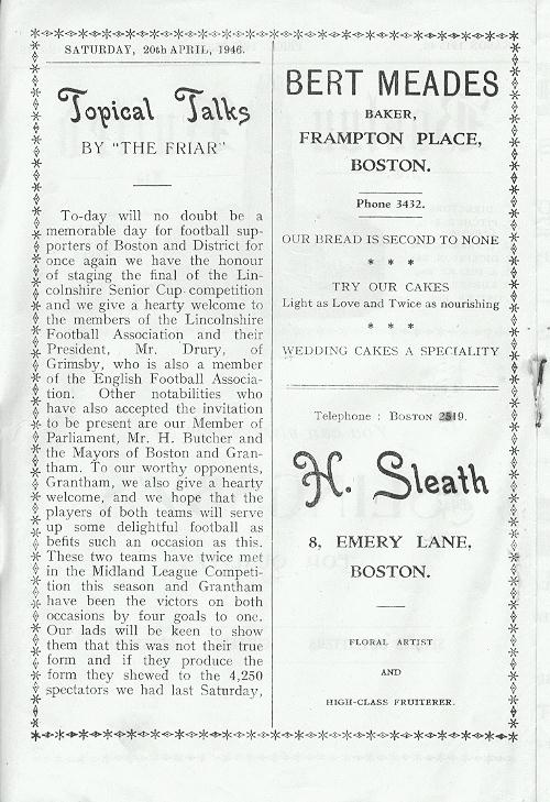 Programme Page 2 - 1945/6