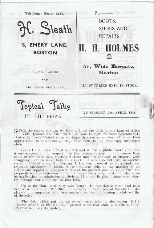 Programme Page 2 - 1947/8