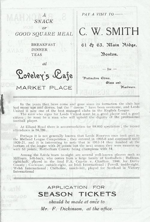 Programme Page 3 - 1947/8