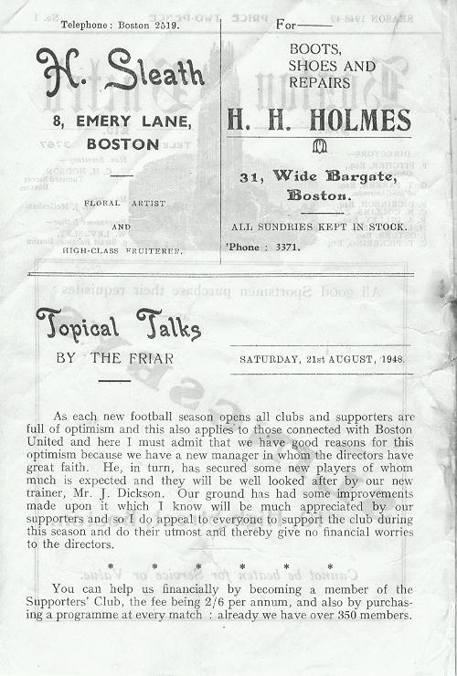 Programme Page 2 - 1948/9
