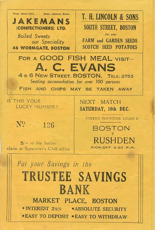 Programme Page 2 - 1949/50