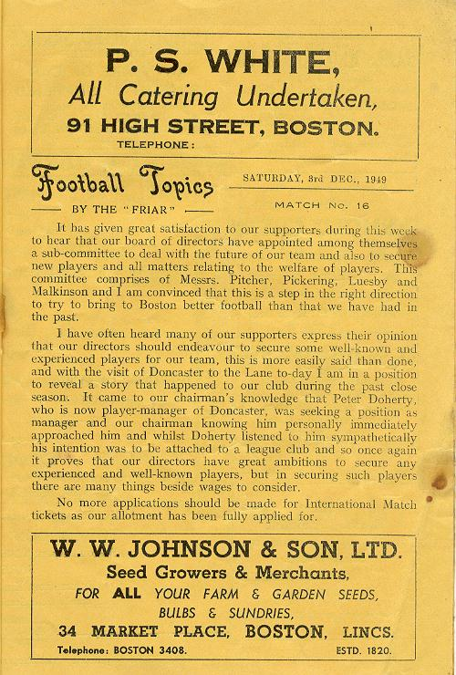 Programme Page 3 - 1949/50