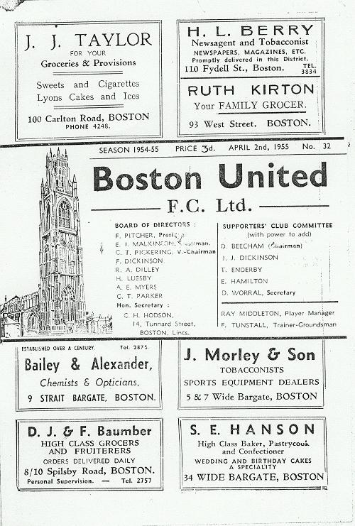 Programme Page 1 - 1954/5