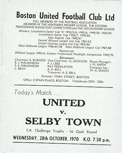 Programme Page 3 - 1970/1