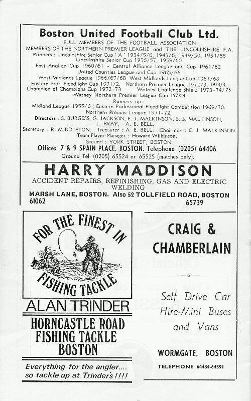 Programme Page 2 - 1975/6