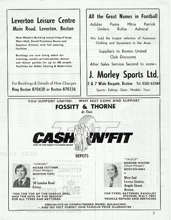 Programme Page 7 - 1980/1