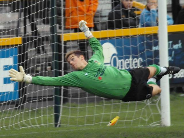 Martyn Margarson stretches to make a save