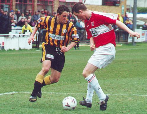 Town goes head to head with a Scarborough defender