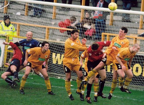 Crowded goalmouth
